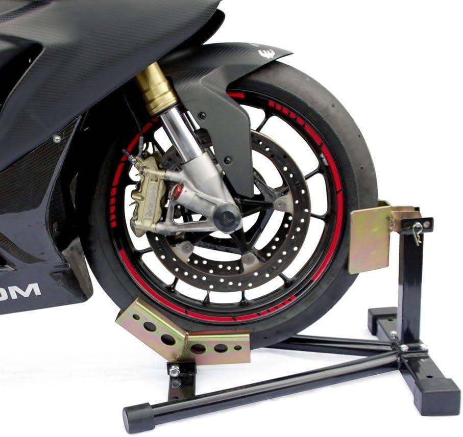 Motorradtransport Wippe Vorderrad Halter Vorderreifen Motorradreifen Transportsicherung rot Motorradwippe RACEFOXX Motorradst/änder