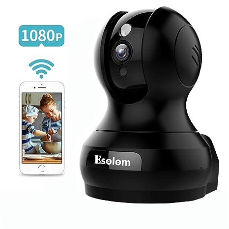 1080P Cámara IP, ESOLOM Cámara de Vigilancia WiFi Interior 360 HD, Monitoreo Nocturno, Audio Bidireccional, Alarma de Telefono Movil, Bebe/Viejo ...