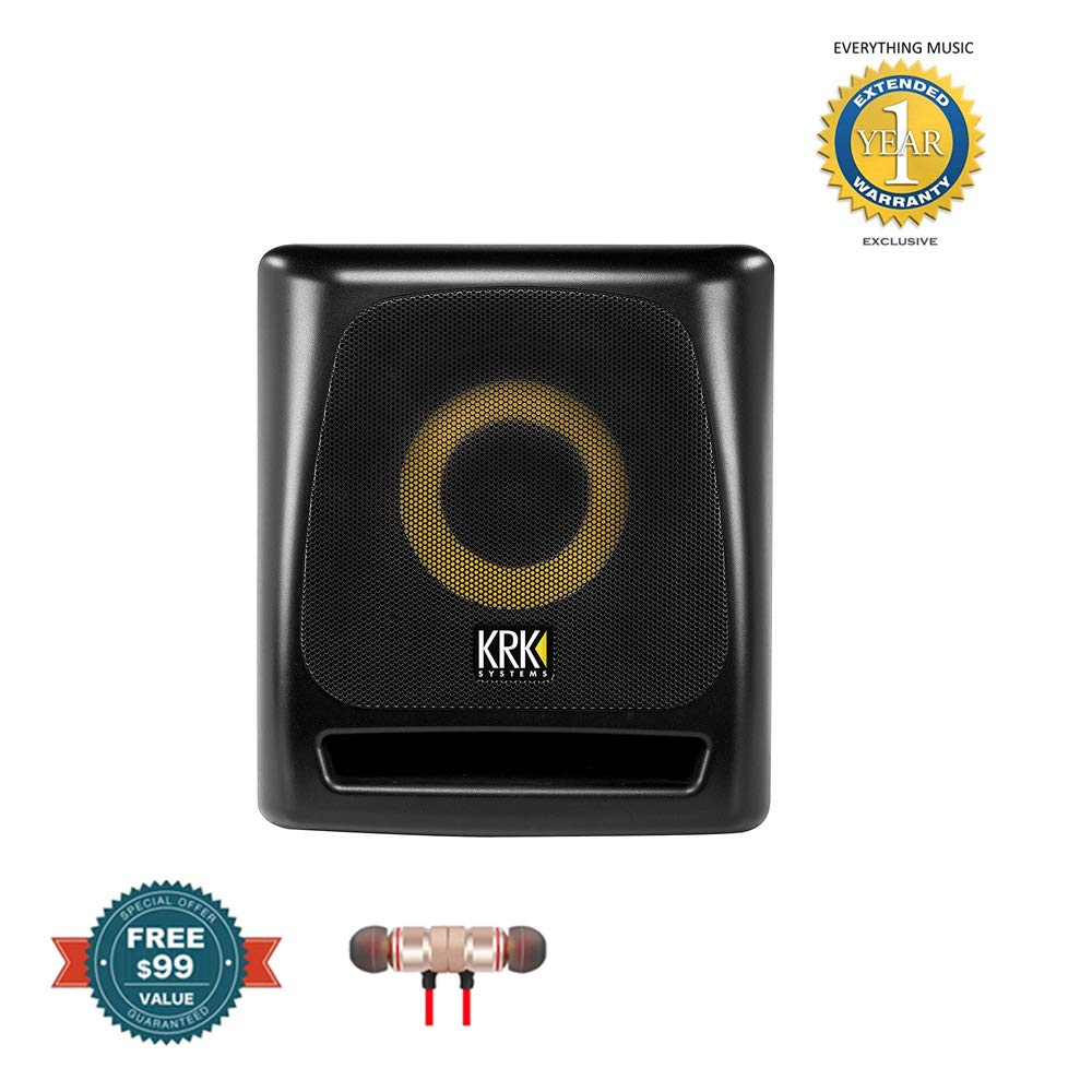KRK 8S2 V2 8'' 100 Watt Powered Studio Subwoofer includes Free Wireless Earbuds - Stereo Bluetooth In-ear and 1 Year EverythingMusc Extended Warranty