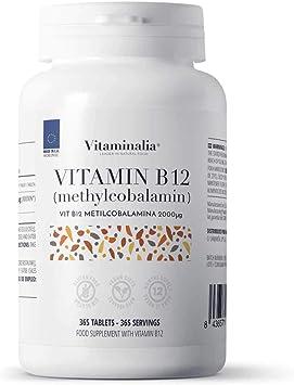 Vitamina b12 2000mg veganas de Vitaminalia | Dosis Alta de Metilcobalamina | Suplementos b12 para reducir el cansancio | Sin Gluten, Sin Lactosa, Sin ...
