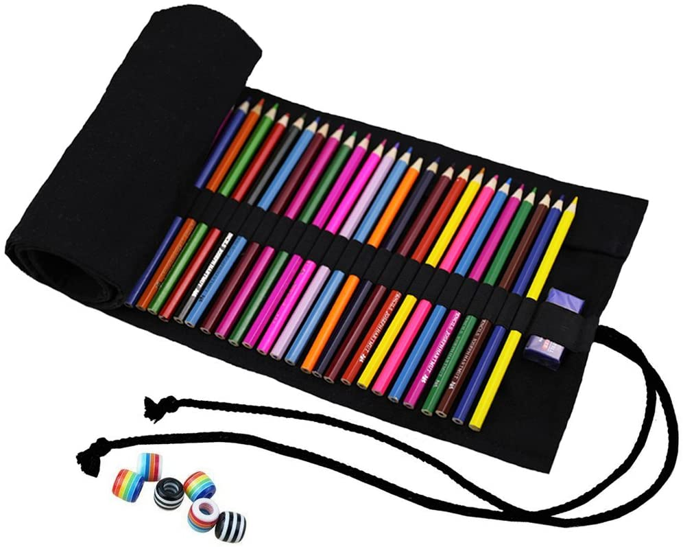 Abaría - Bolso de lapices Bolsa de Almacenamiento Hecho de Mano, Estuche Enrollable para Colores lápices 72 Agujeros Negro: Amazon.es: Electrónica