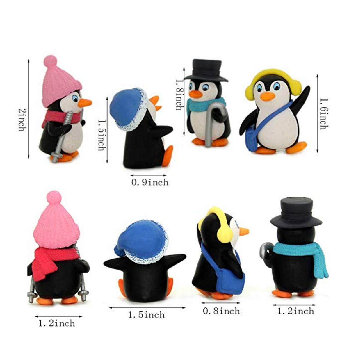 Penguin Cake Topper Penguin Garden D/écor Figurine 4 pcs Cute Landscape Penguin Characters Toys Mini Figure Collection Playset Mini Figure Collection Playset