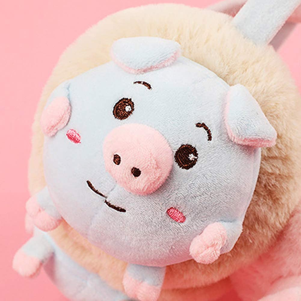 CHUANGLI Cute Cartoon Piggy Faux Fur Earmuffs Winter Warm Fuzzy Adjustable Ear Warmers