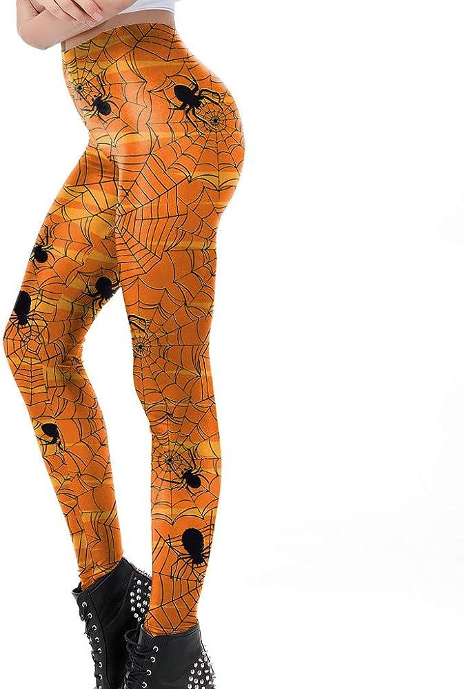 Carol - Leggings de algodón para Mujer, con Cintura Alta, Leggins opacos, elásticos, para Entrenamiento, Yoga, Halloween, Spider Amarillo M: Amazon.es: Ropa y accesorios