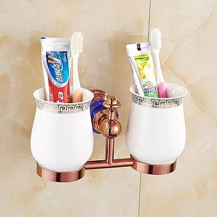 SSBY Europea-doble taza, cepillo de dientes de oro rosa doble vidrio, de