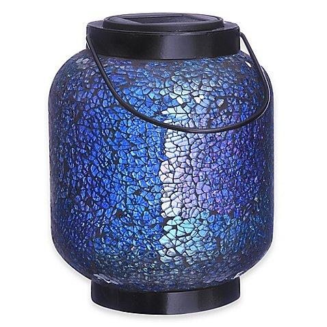 Mosaic Jar Solar Lighted Garden Décor in Blue (1) (Ornament Harbour Lights)