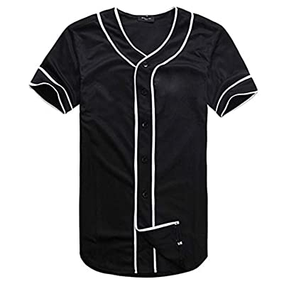 ACEFAST INC Mens Baseball Jersey Button Down Hipster Hip Hop T Shirts at Amazon Men's Clothing store