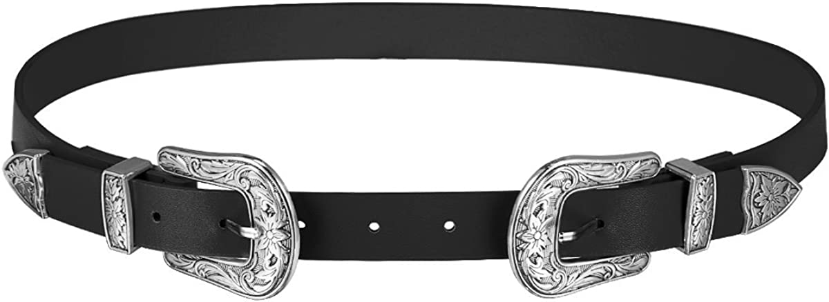 HBF Doble Hebilla Cinturon Mujer Cuero Cinturones De Mujer Retro Elegante Cinturones Para Mujer Ropa Accssorio