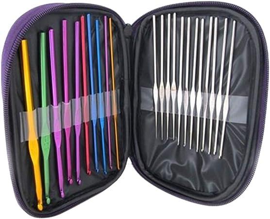 FiedFikt - Juego de agujas de ganchillo con funda para agujas artríticas, agujas de tejer suaves para resultados superiores, 22 piezas: Amazon.es: Hogar