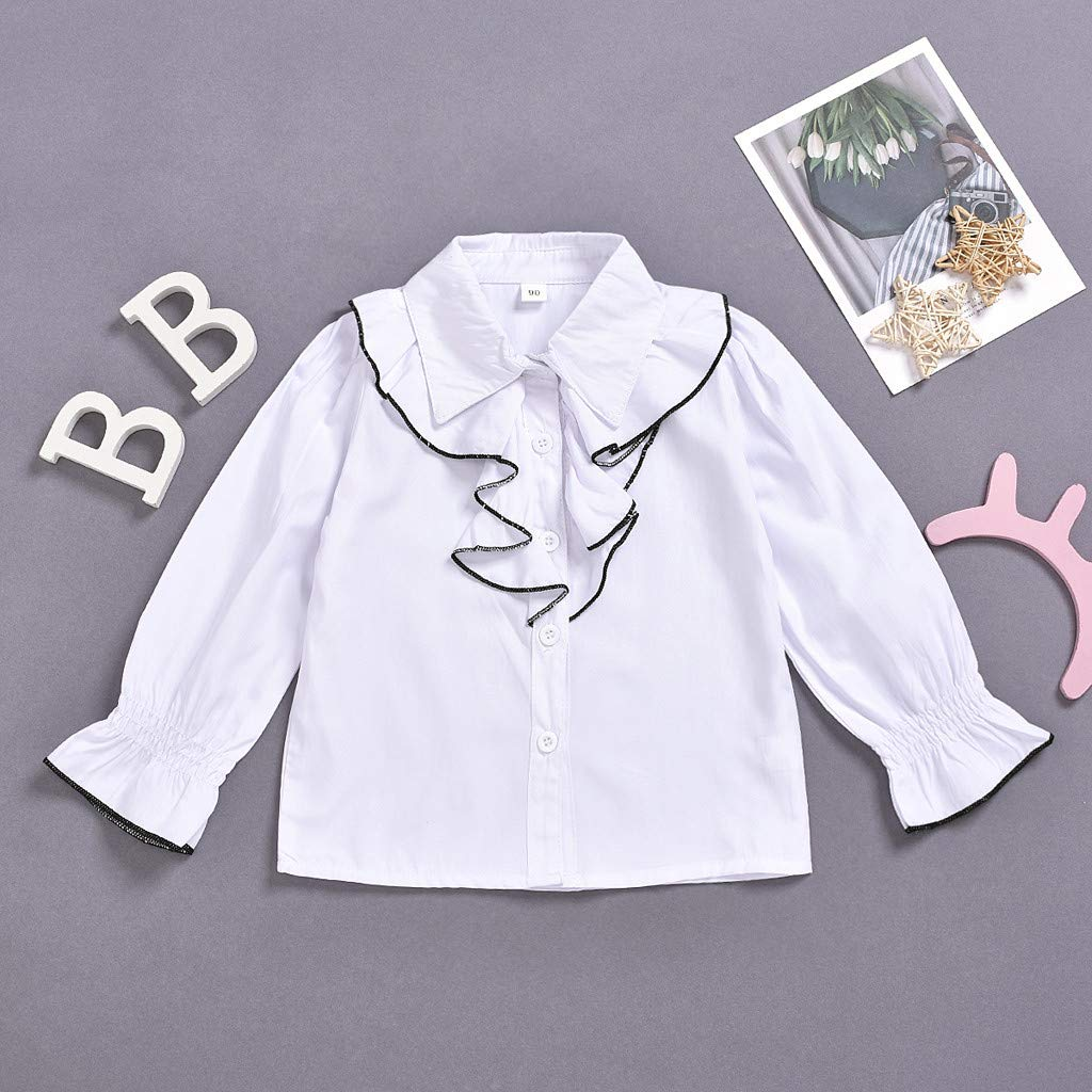 Mousmile Toddler Baby Girls White Shirt Turn Down Collar with Ruffle Shouler Casual School Long Sleeve Blouse Flare Cuff