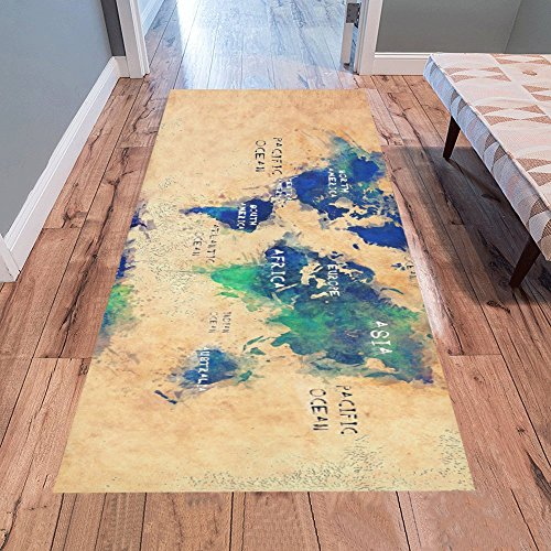 AnnHomeArt world map OCEANS and continents Area Rug Modern Carpet Runner Rug 7'x3'3''