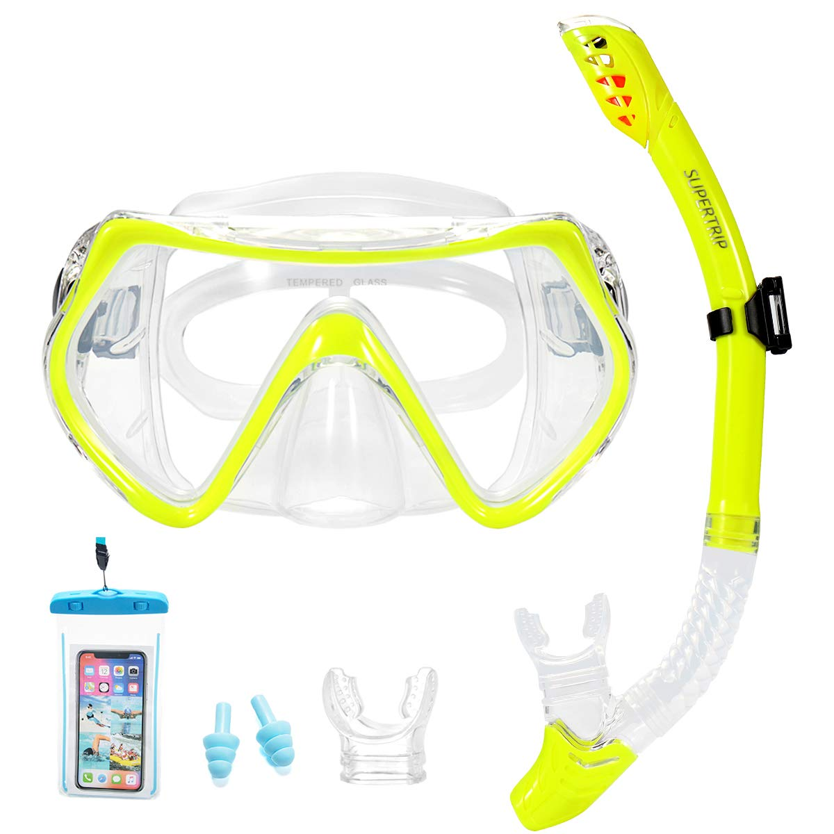 Supertrip Snorkel Set Adults-Scuba Snorkeling Diving Mask with Impact Resistant Anti-Fog Temperred Glass|Dry Top Snorkel,2 Mouthpieces 1 Waterproof Case Included Yellow by Supertrip