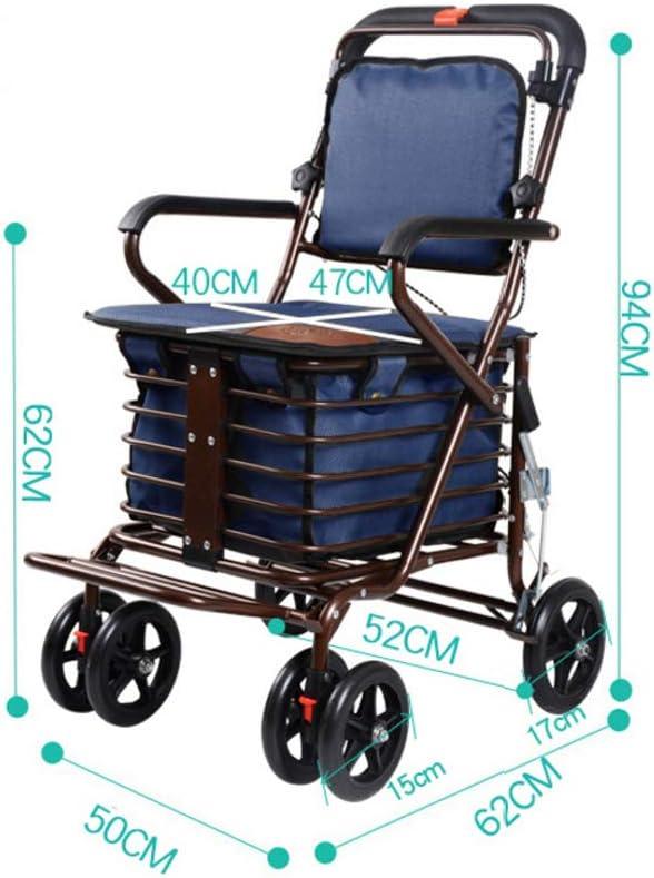 XJZHAN Andador De Andador Plegable Ligero con Placa De Pedal Y Marco Grande para Caminar Debajo De La Cesta De Compras,Color3