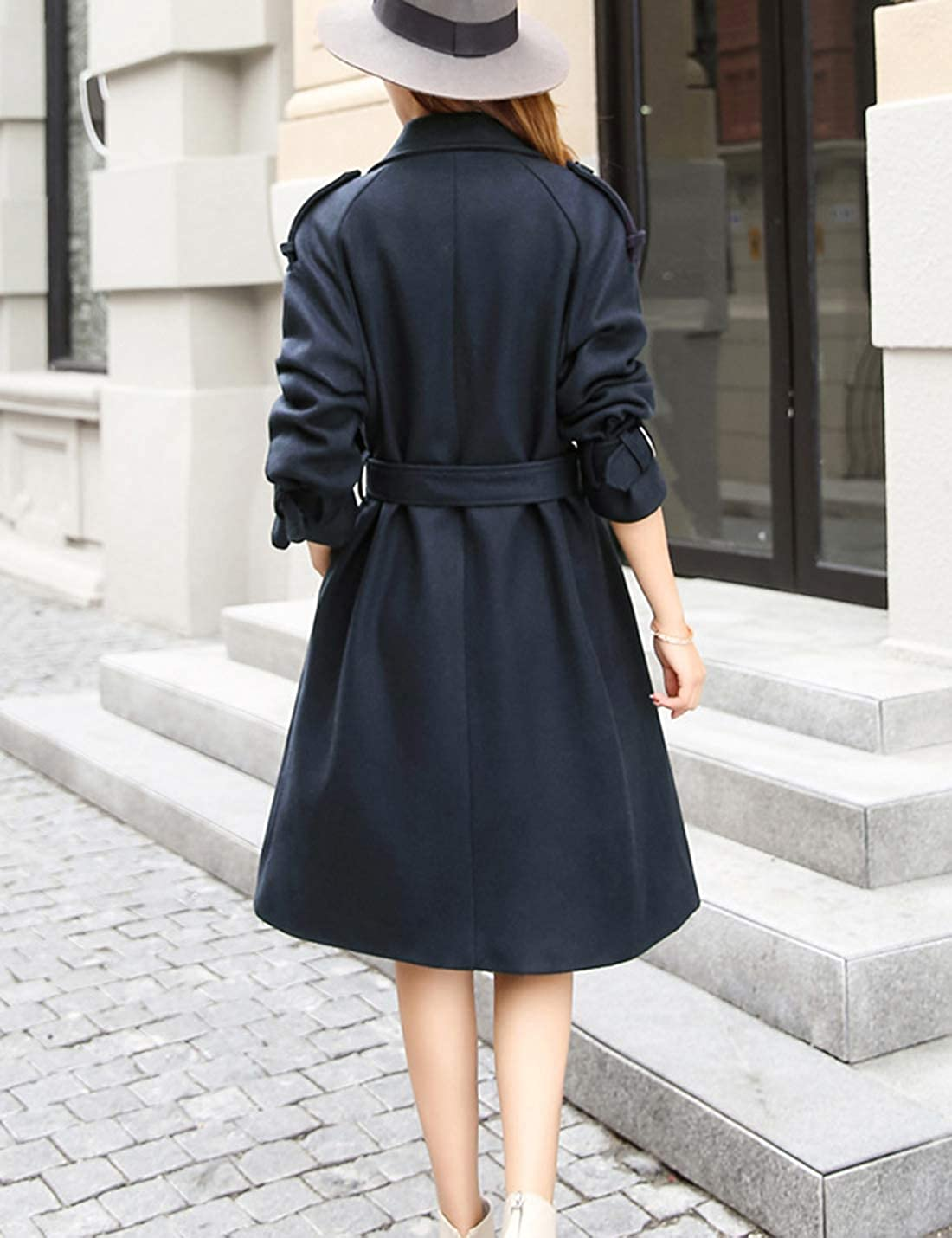 Uaneo Womens Classic Fashion Lapel Wool Blend Thick Coat Long Warm Overcoat