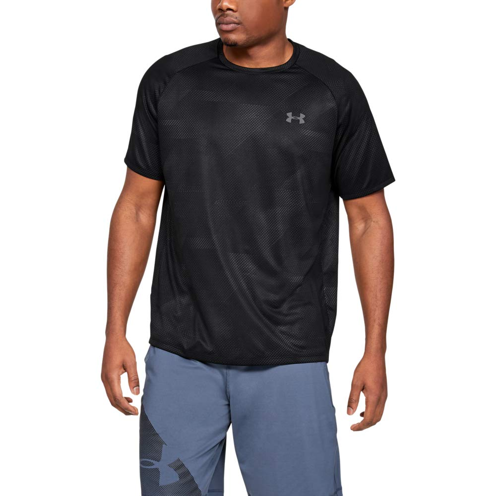 Under Armour Tech Printed Short-sleeve Shirt, Black (005)/Pitch Gray, X-Large by Under Armour