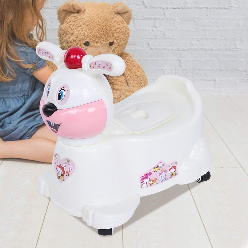 Pink Kids Potty Training Seat Cute Simulation Auxiliary Toilet Potty Movable Car Toy Non-Slip Bedpan Fun Stool Detachable Design with 4 Wheels and Music