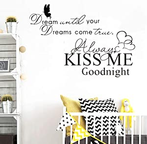 melestore Always Kiss Me Goodnight Scripture Wall Decal Laundry Decals Stickers Kitchen Room Bedroom Vinyl Quotes Decor Letters Boys Nursery Kids Quote