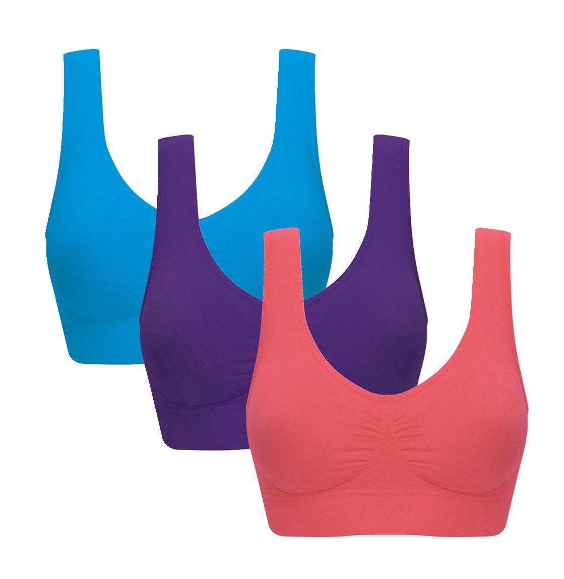 Women's Comfort Workout Sports Bra Low-Impact Activity Sleep Bras Pack of 3 S
