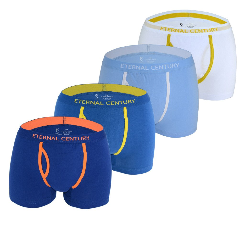 ETERNAL CENTURY Men's 4 Pack Cotton Stretch Boxer Briefs with Fly Assorted Small