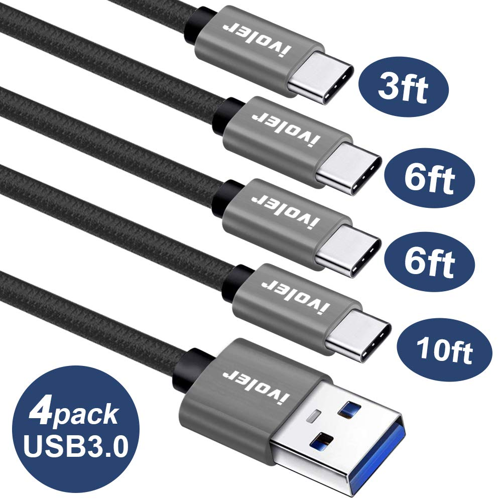 USB C Cable (USB 3.0), iVoler [4 Pack:3FT 6FTx2 10FT] Braided Nylon Type C Charger Cables Fast Charging Cord for Samsung Galaxy Note 9 S9 S8 Plus LG G7 Google Pixel XL 2 Nintendo Switch (Black Gray)