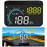 FIUNED Head up Display,Upgrade Universal Car HUD Dual Mode OBD2/GPS Windshield Projector with Speed,OverSpeed Alarm, KMH/MPH,