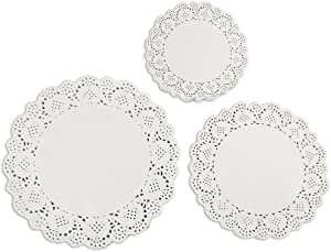 DECORA 180 Pieces White Round Paper Lace Doilies for Birthday Party and Wedding Tablewear Decoration 3.5inch,4.5inch,5.5inch