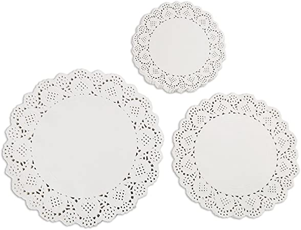 U.WILL 180 Pieces 4.5inch White Lace Round Paper Doilies Cake Packaging Pads Wedding Tableware Decoration