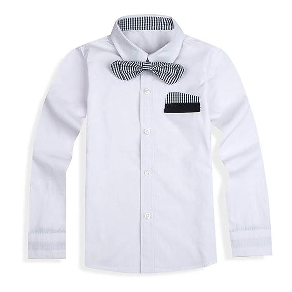 Sunonvi Niños Niños Camisas Algodón con Corbata Camisas Niños Ropa ...