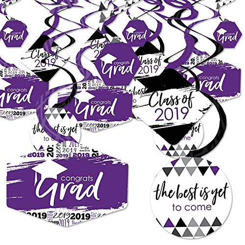 Purple Grad - Best is Yet to Come - 2019 Purple Graduation Party Hanging Decor - Party Decoration Swirls - Set of 40