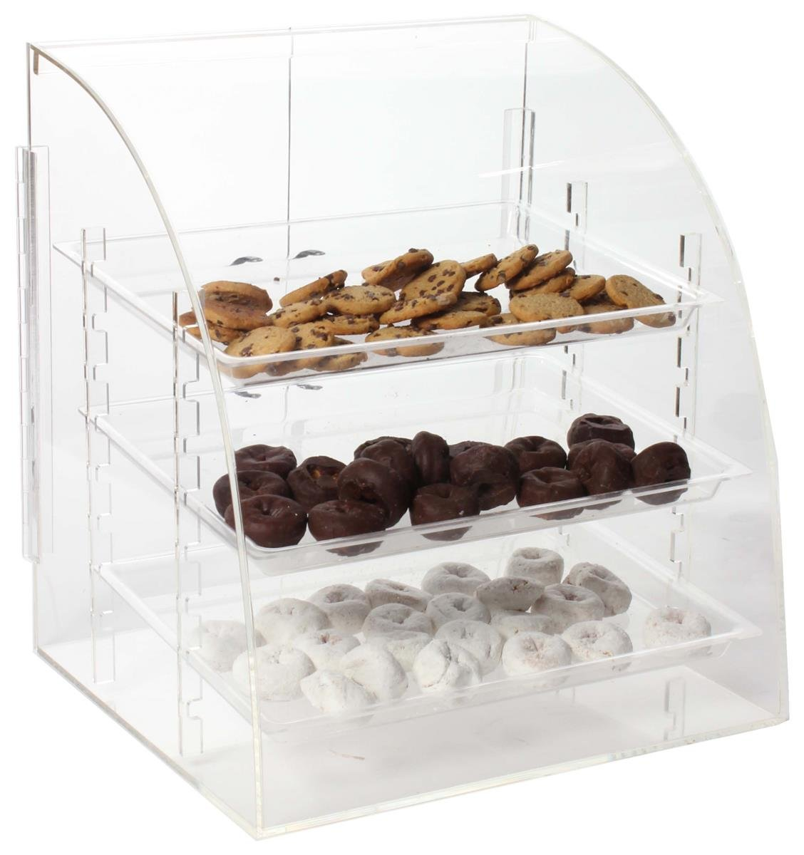 Clear Acrylic Countertop Food Display Case with Rear-Loading Doors and 3 Removable Trays, 16-1/4 x 17-1/2 x 14-1/2-Inch, Hinged Doors, Polished Edges