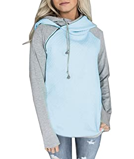 4e6ce2218 Hoodies for Women Oblique Zipper Sweatshirts Long Sleeve Hooded Tops  Spliced Color Casual Pullover