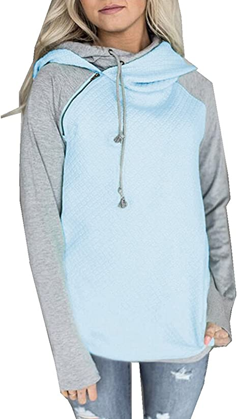 Lponvx Geometry Women Girl Fashion Drawstring Sweatshirt with Front Pocket
