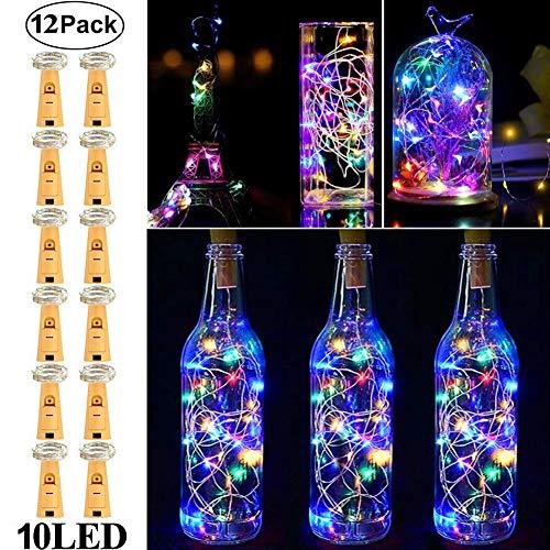 Wine Bottle Lights with Cork,RcStarry(TM) 3.3Ft/1M 10 LEDs Cork Lights for Bottle 12 Pack,Silver Wire Bottle Lights for DIY, Party, Decor, Christmas, Halloween,Wedding(Multicolor) ()
