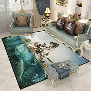 Mermaid Outdoor Rug Rugs Bathroom Rugs Area Rugs Mythological Woman Sitting on a Shell with Leaves Birds Clouds Over Magic Sea Desk Chair mat for Carpet Blue Beige Teal 5 x 6 Ft