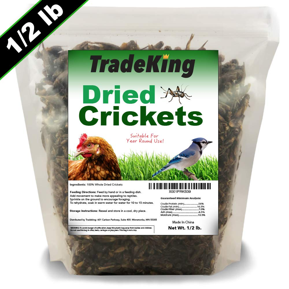 TradeKing Natural Dried Crickets - Food for Bearded Dragons, Wild Birds, Chicken, Fish, Reptiles - (8 oz Resealable Bag) - Veterinary Certified