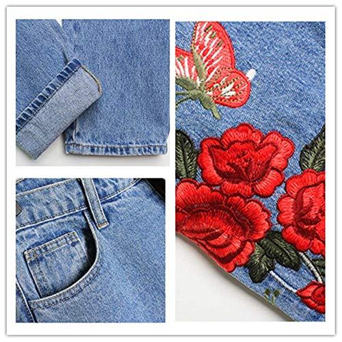 Las Slim Pantalones Denim Rectos Jeans Azul Estiramiento Elásticos Modernas Haidean Colour Casual Mezclilla 3d De Bordado Alta Vaqueros Cintura Mujeres CtxSqw