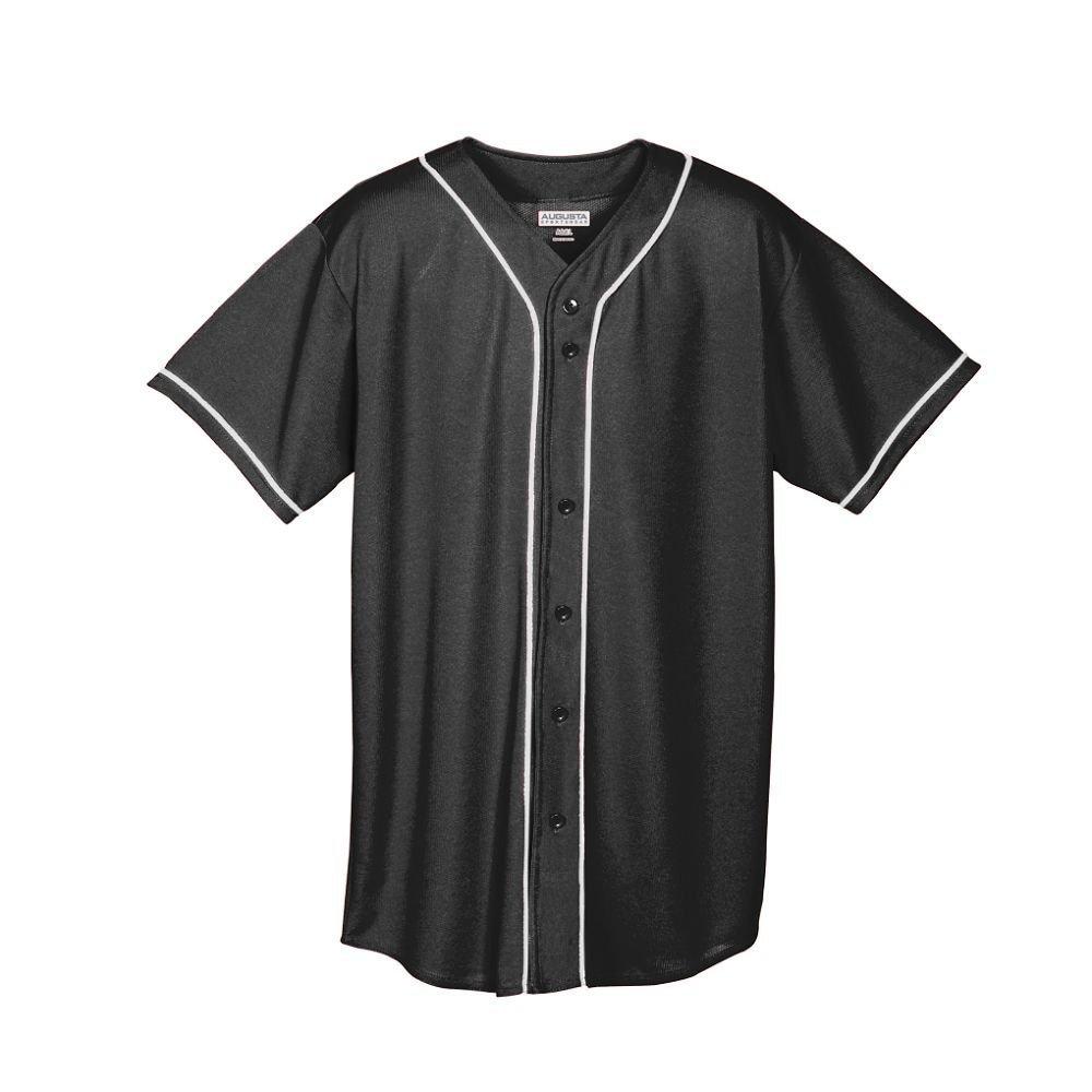 Augusta Sportswear メンズボタンフロント野球ジャージ 水分発散メッシュ ブレードトリム B008KD575W 4L|ブラック/ホワイト ブラック/ホワイト 4L