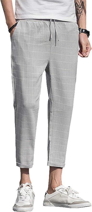 Pantalones Casuales De Lino De La Verano Del Escocesa Tela Hombres Hombres Mode De Marca Corredores Pantalones Para Hombre Moda Vintage Casual Con Pantalones De Verano Con Cordon Amazon Es Ropa Y Accesorios