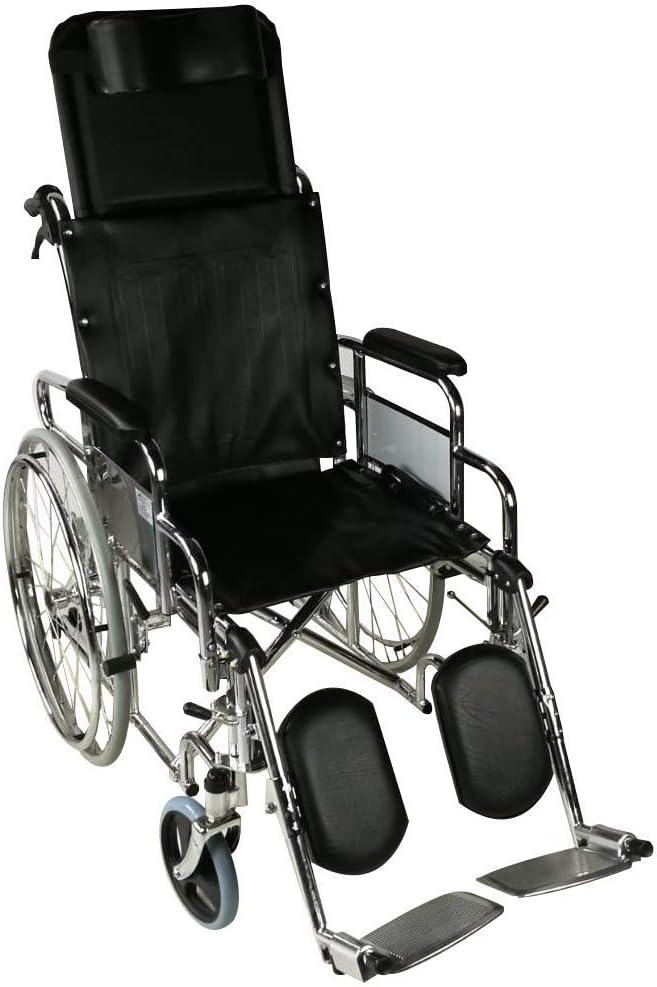 Mobiclinic, modelo Obelisco, Silla de ruedas ortopédica, plegable, para minusválidos, de aluminio, freno en manetas, reposapiés y reposabrazos extraíbles, color Negro, asie