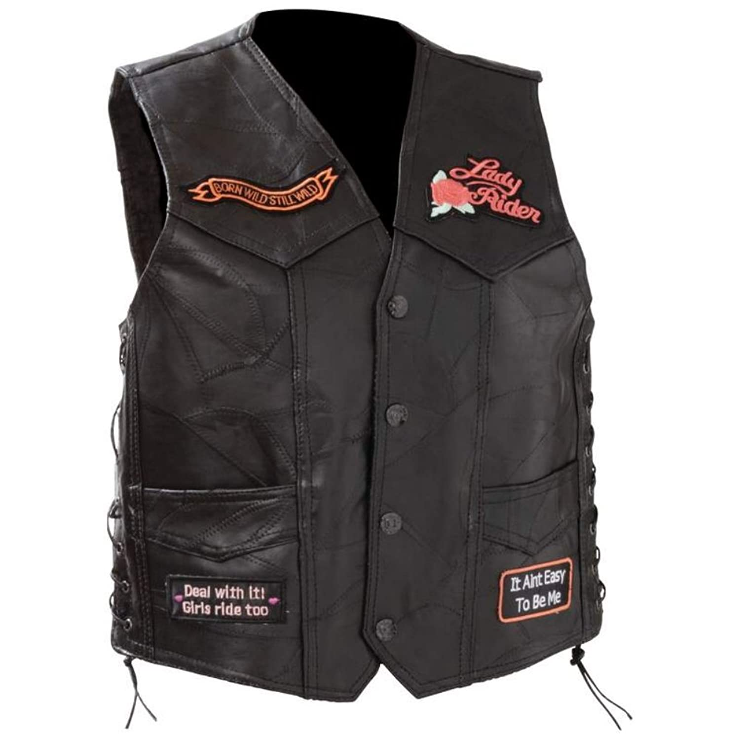 Womens Leather Biker Vest