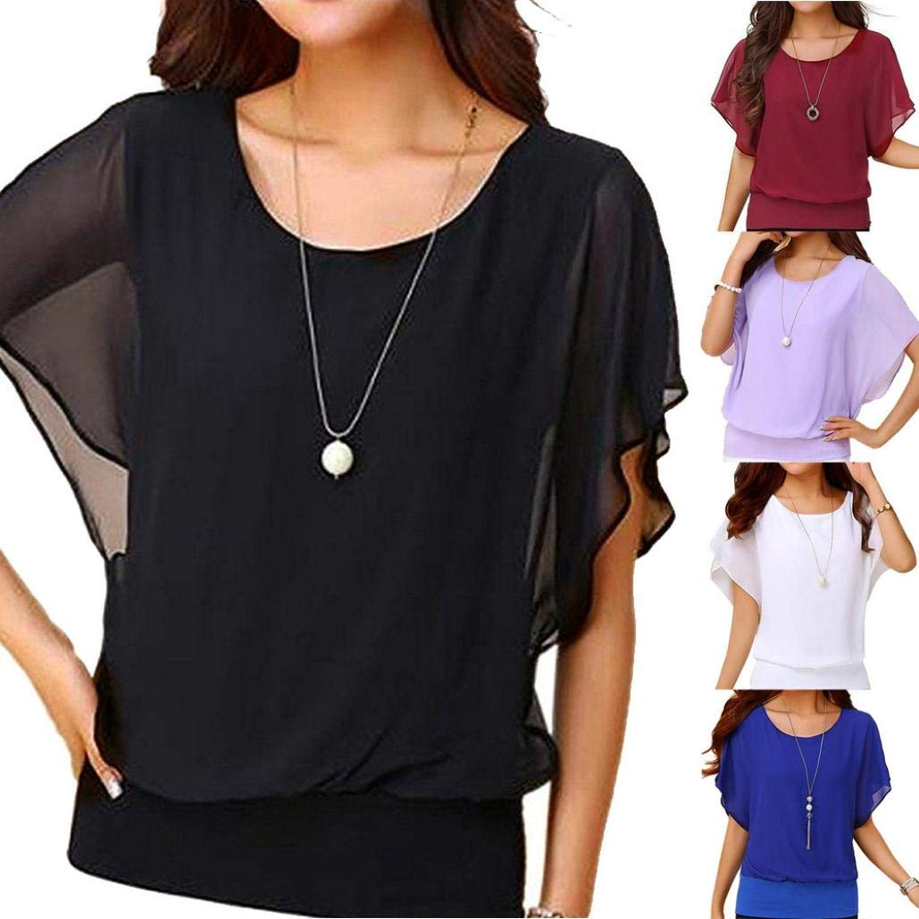 617d67f1 Wobuoke Women's Loose Casual Short Sleeve Chiffon Top T-Shirt Blouse at  Amazon Women's Clothing store: