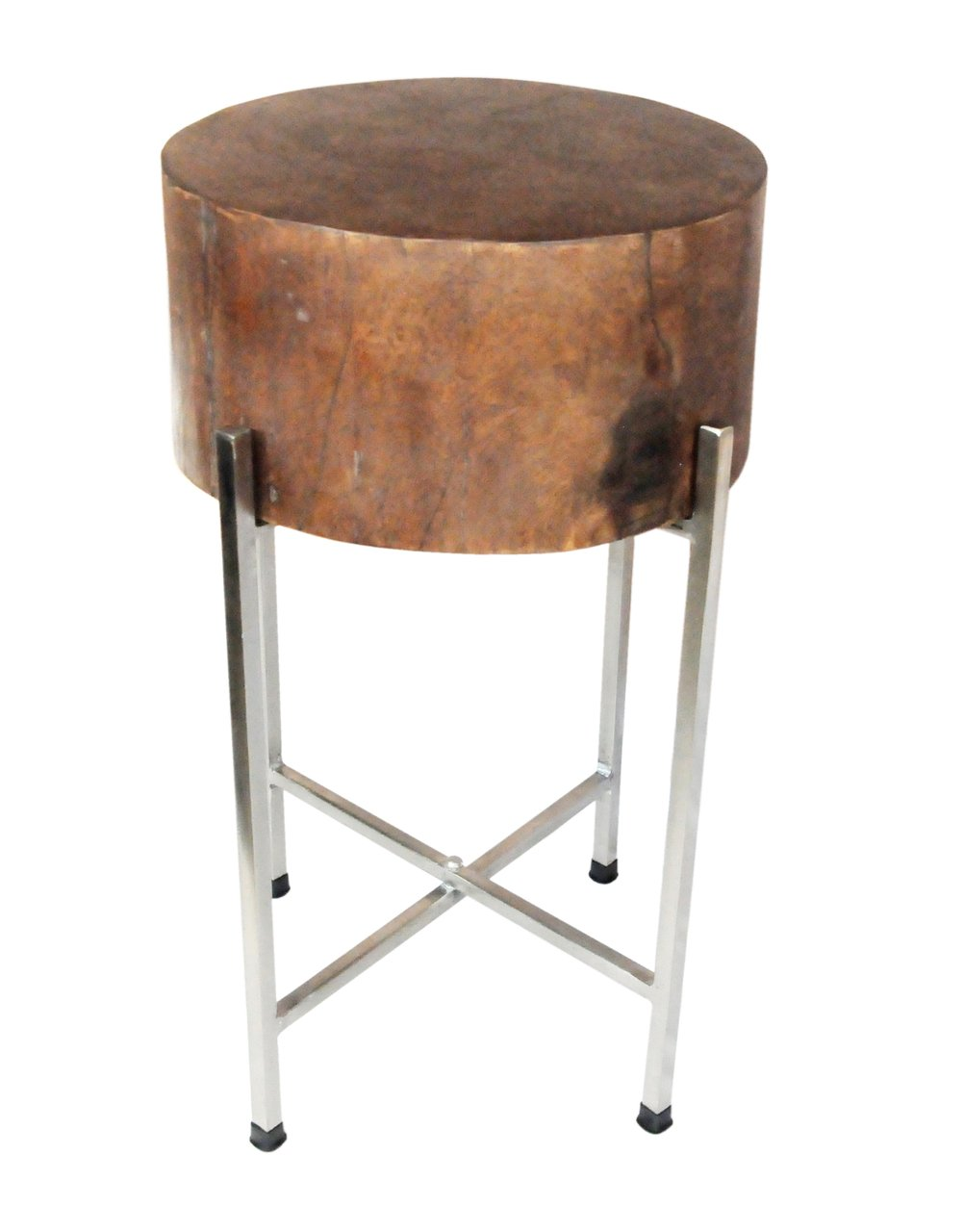Natural Wood Block Accent Table Stella with 6 Deep Solid Mango Wood Block and Collapsible Silvered Base