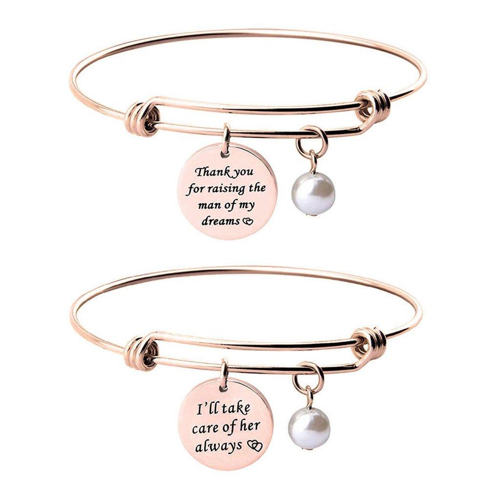 Mother of the Bride Groom Bracelet Set Mother in Law Gift (Mother in law bracelet set)