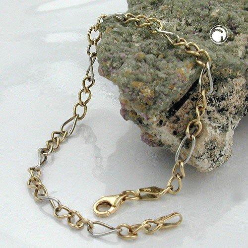 ASS pour femme en or blanc 375/1000 maille gourmette bracelet figaro partiellement rhodiniert. neuf