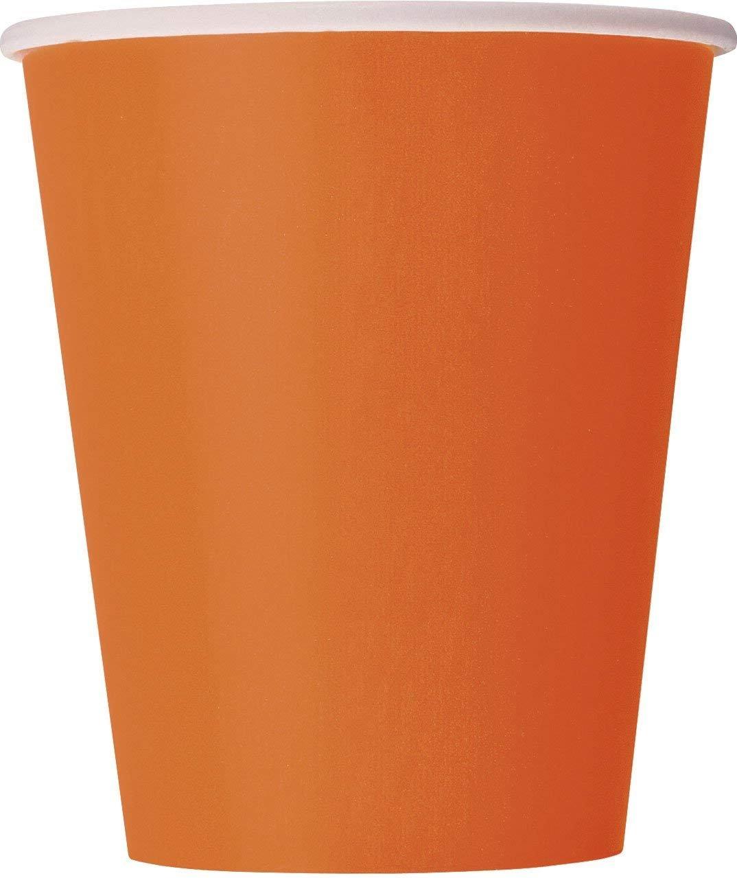 270 ml Orange Paper Cups, Pack of 28 Unique Party