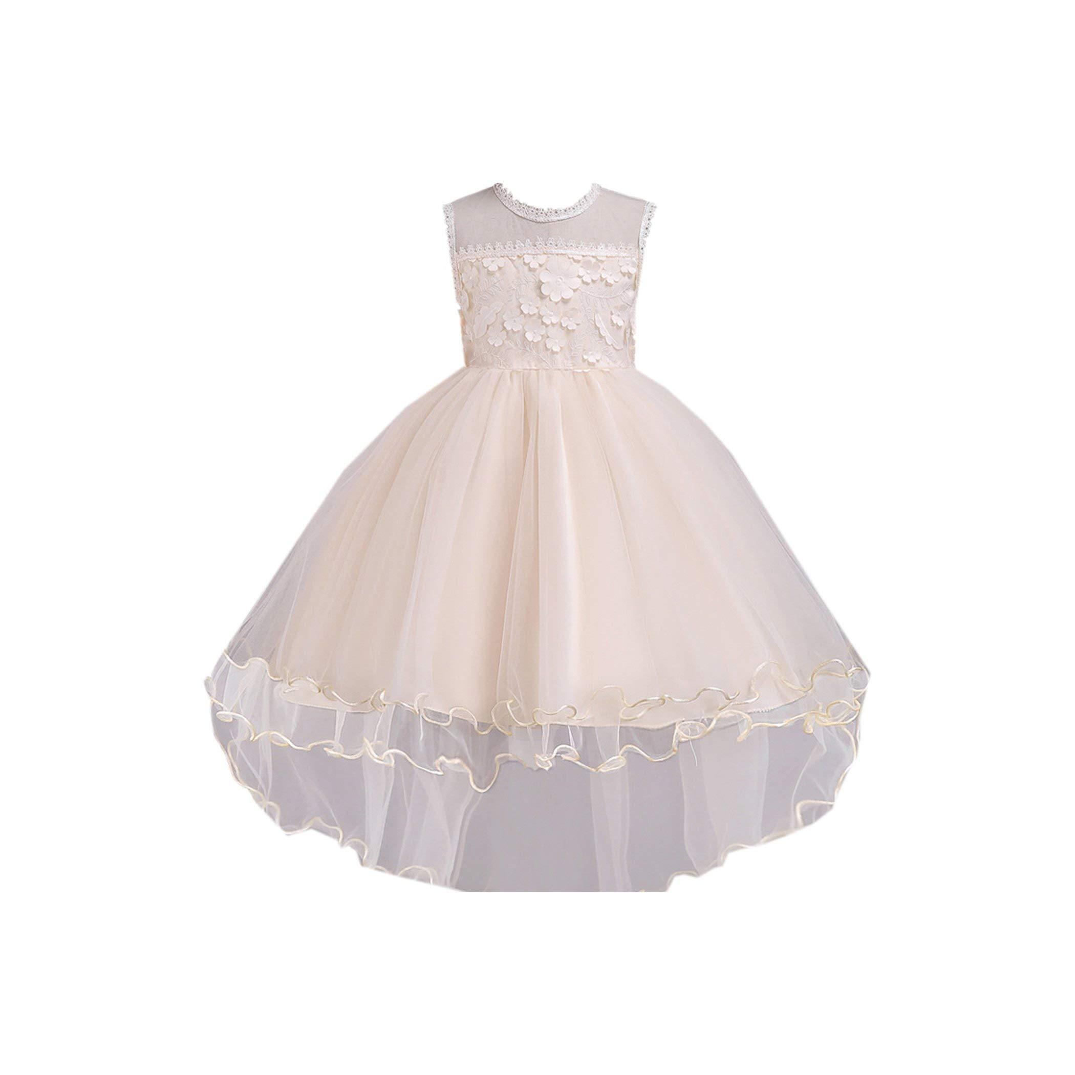New Summer Baby Girls Party Dress Evening Wear Long Tail Girls Clothes Elegant Flower Girl Dress,30,8