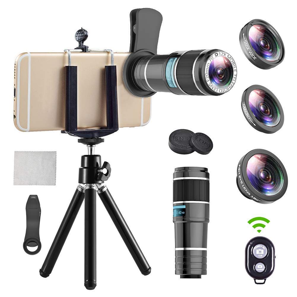 iPhone Telephoto Lens, 4 in 1 Cell Phone Camera Lens,12x Telephoto Lens+ 0.65x Wide Angle Lens + Macro Lens + Fisheye Lens,Clip-On Lenses for iPhone x 8 7 6 plus, Samsung Smartphone Bundle by EWEIMA