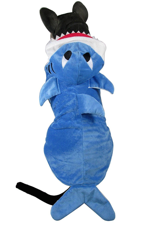 Pet Halloween Christmas Cosplay Dress Mogoko Funny Dog Cat Shark Costumes Adorable Blue Shark Pet Costume,Animal Fleece Hoodie Warm Outfits Clothes