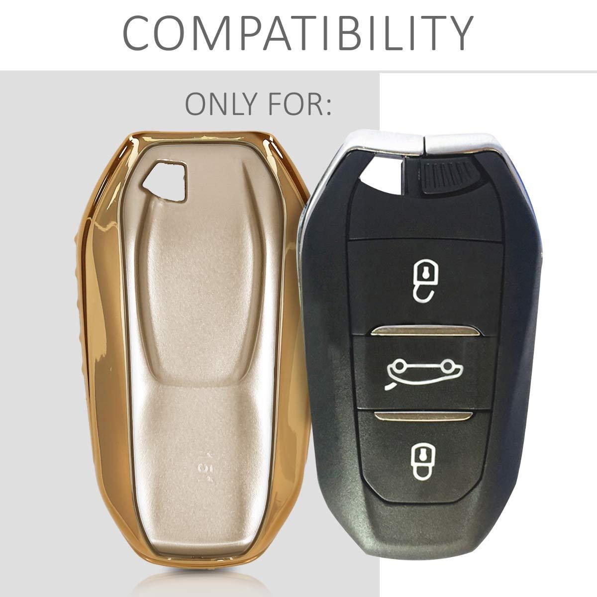 Plateado Brillante - Carcasa Suave de Solamente Keyless Go kwmobile Funda para Llave Smartkey de 3 Botones para Coche Peugeot Citroen TPU Cover de Mando y Control de Auto en para Llaves
