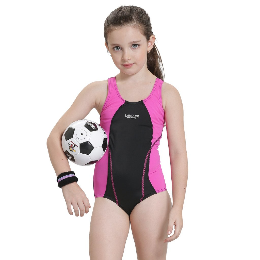 Bwiv costume da bagno intero ragazza costume allenamento nuoto resistente al cloro 2-14 anni 10-12 anni